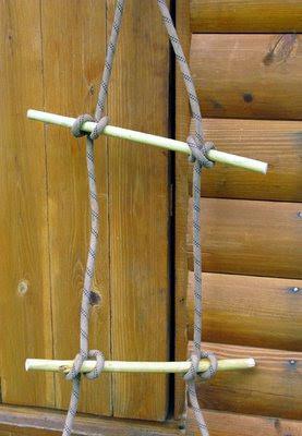 Лестница верёвочная простое крепление