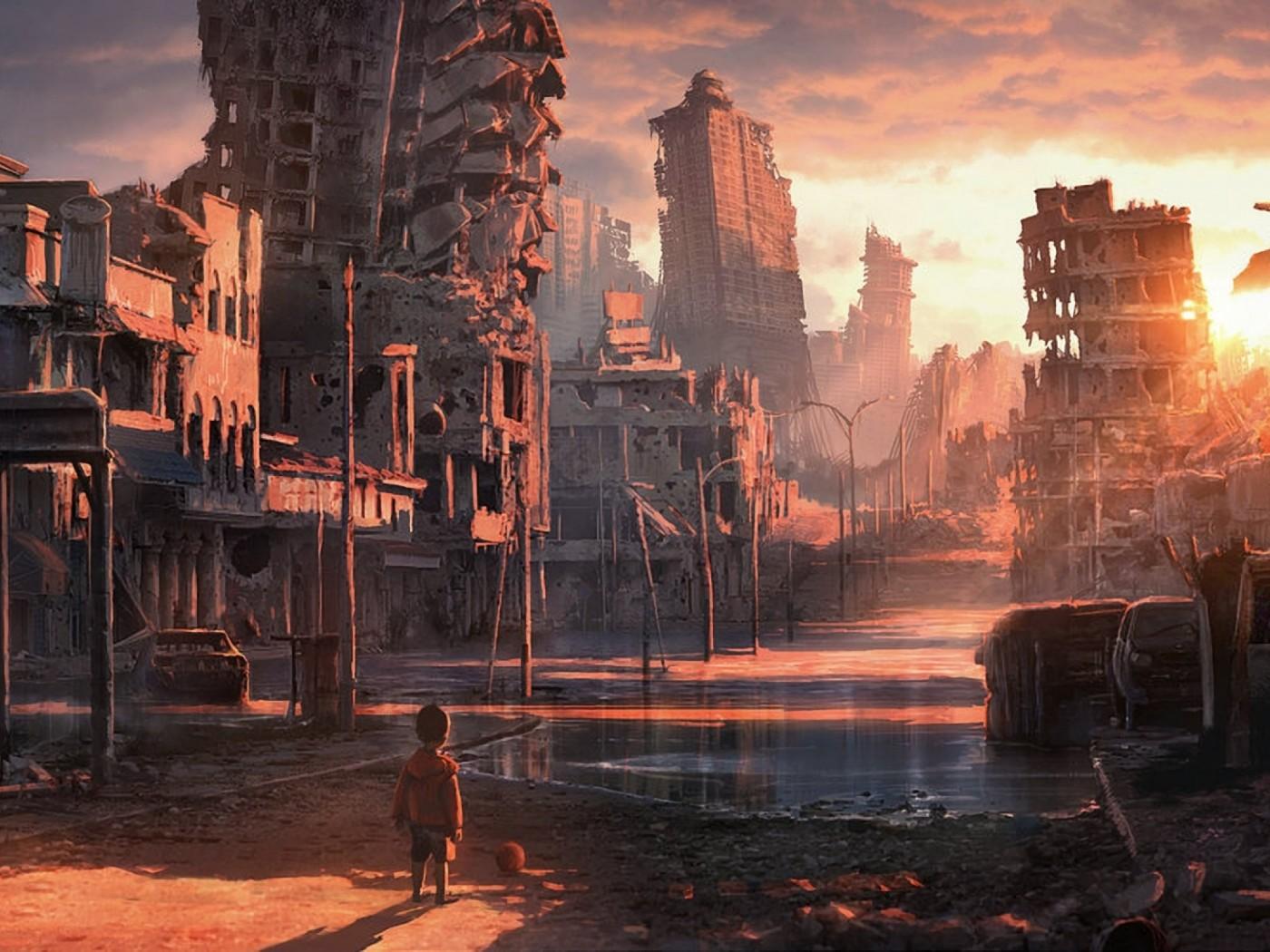 Ребёнок среди руин апокалипсис