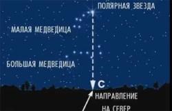 Ориентирование с помощью полярной звезды