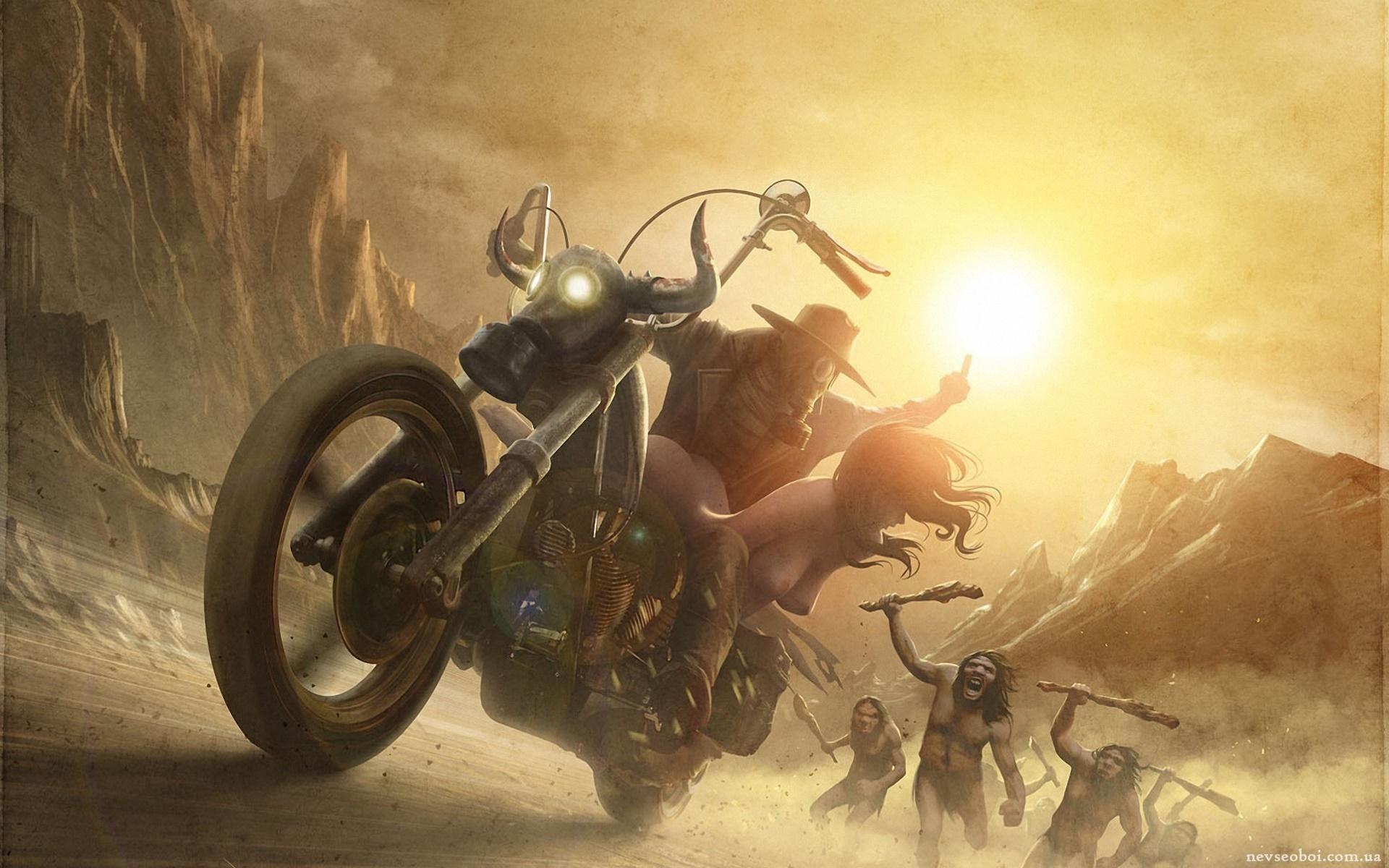погоня за мотоцыклом в посапокалиасис