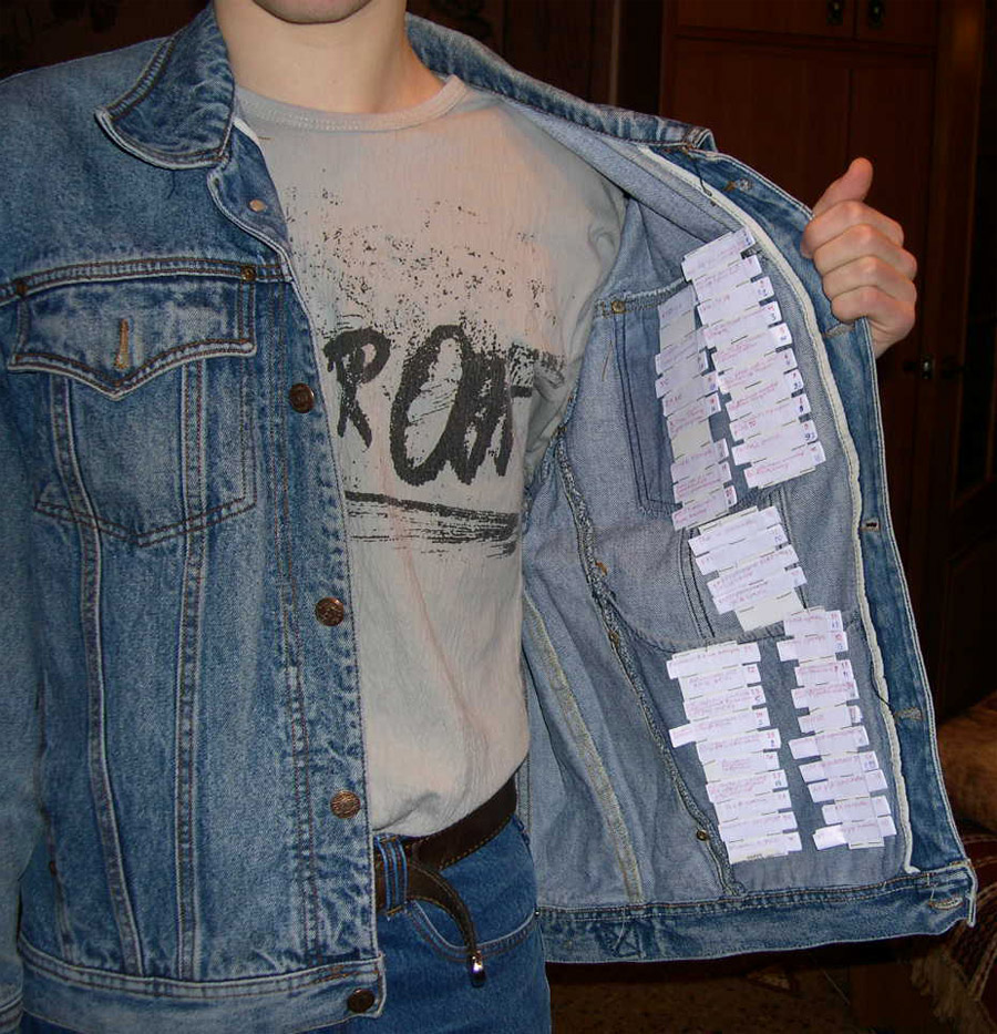 шпаргалка на одежде