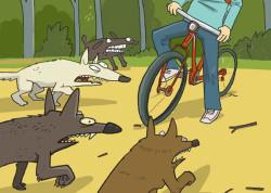 рисунок собаки и велосипедист