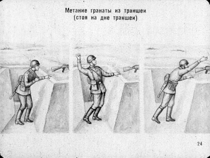 граната и солдат в траншеи